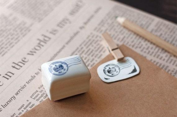 Ceramics Rubber Stamp Set - Postmark - 1 Stamp and 1 Ink Pad