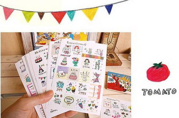 Paper Deco Sticker Set - Stamp Shape - 16 sheets