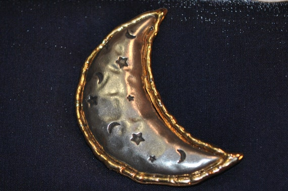 vintage brooch -  The moon and the stars JJ Designs collectible brooch