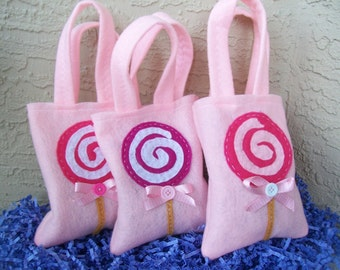 LOLLIPOP PARTY/ felt party bags/ funny and yummy lollipop/ set of 6/ candy party