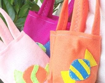 CANDY PARTY/ Felt party bags/ candies and more/ Set of 4 Party bags