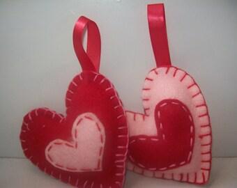Sweet felt Heart  ornament set of 2