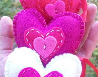 Sweet felt Heart ornament set of 3