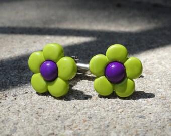 Green and Purple Flower Cufflinks