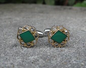 Green Diamond-shaped Cufflinks