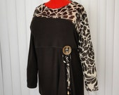 Ladies  Fashionable Brown Animal Print Blouse/ Top/ Tunic 1X-2X size