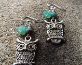 Antiqued Silver Brass Owls Earrings/Czech glass Bell flower with Swarovski turquoise salmon crystal addition