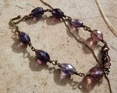 Clearance/Price Reduced/Purple Glass WireWrapped Bracelet with Czech glass