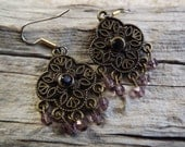 Clearance/Amethyst Boho Chandelier Earrings