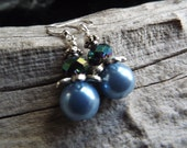 Clearance/Pale Blue Glass Pearl and Metallic Teal Glass Earrings