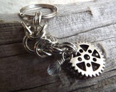 Antiqued Silver Gear Steampunk Chainmaille Keychain