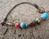 Boho Copper, Magnesite and Orange Czech Glass Wirewrapped Bracelet