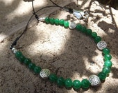 Emerald Green Jade and Antiqued Silver Celtic Beaded Necklace