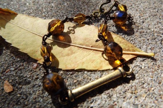 Czech Glass Amber  Wirewrapped Bracelet