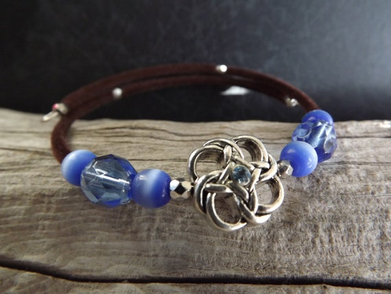 Clearance/Memory Wire Bangle Bracelet with Celtic Knot in Blue