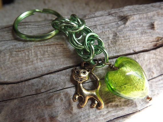 Clearance/Byzantine Chainmaille Green Keychain with Brass Kitten