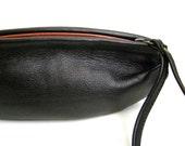 Leather Wristlet Clutch -  LOU Petit Bateau Clutch in Black Lambskin - RESERVED for PM