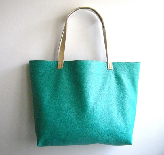 Handmade Leather Tote Bag - LOU Market Tote in Turquoise Blue with Cream Colored Handles
