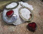Hope Heart Hoop Earrings Red Czech Picasso Window Beads