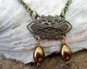 Victorian Choker - Antiqued Brass, Bronze Teardrop Glass Pearl, Red Plum Beads