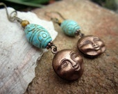 Man in the Moon Earrings - Carved Turquoise, Antiqued Brass, Tiger Eye