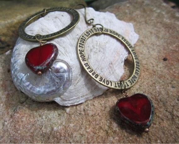 Hope Heart Hoop Earrings Red Czech Picasso Window Beads