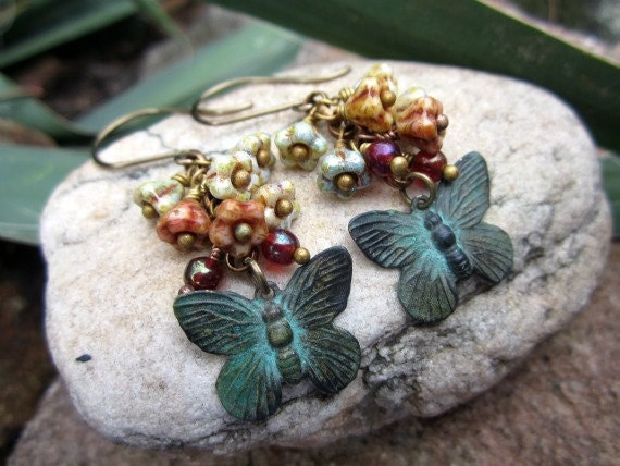 Butterfly Earrings - Bell Flowers, Verdigris, Red Plum
