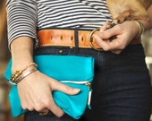 Leather Foldover Mini Clutch with Brass Zipper Closure in Turquoise Blue