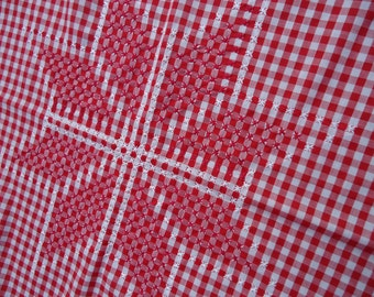 """Set of  Vintage Hand Cross """"Chicken Scratch""""  Red and White Gingham Tablecloth w/4 napkins"""
