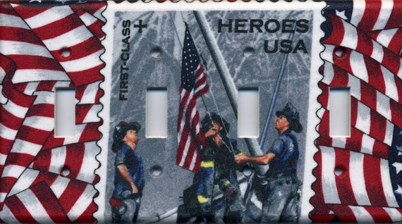 Firefighters Heroes Quad Light Switch Plate