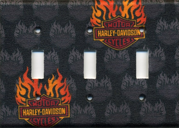 Harley Davidson Triple Light Switch Plate