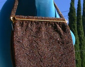 Made in France Brown Beaded Purse
