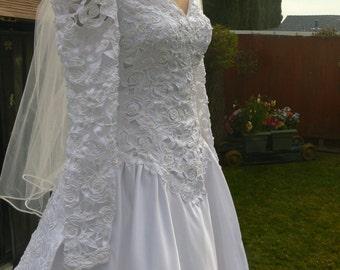 Boned  white long sleeves off the shoulder long train wedding dress size 10-12