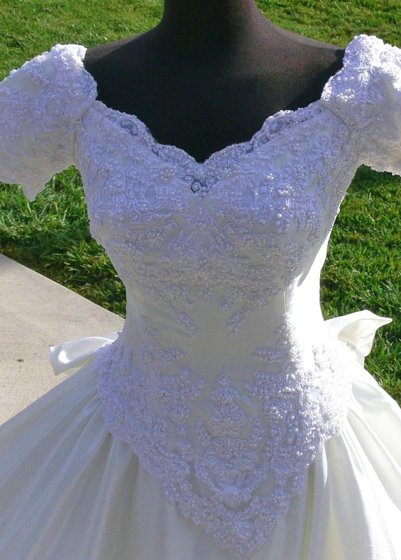 Private Label Cream  Boned off the shoulders  Wedding dress with Pearls