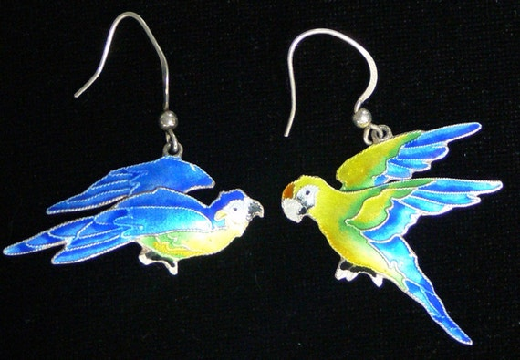 sterling 925  enamel bird hook earrings