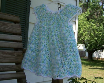 Hand Crocheted Green, Blue and White Mix Baby Dress/Jumper-6mo