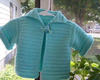 Hand Crocheted Short Sleeved Baby Cardigan-6 to 9 mo