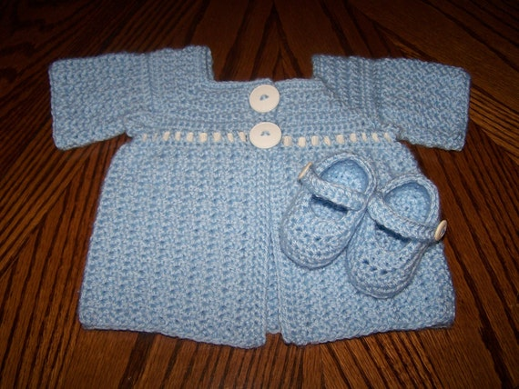 Crocheted Baby Sweater and Mary Jane Booties-newborn to 3 month size