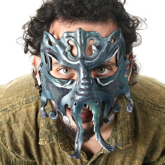Wondrous Mythical Kraken Sea Monster Leather Mask, Cthulu, Creature, Octopus, Giant Squid, Fantasy, SciFi, OOAK