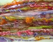 """RESERVED Handspun Art Yarn """"Wildflowers"""" 2 skeins"""