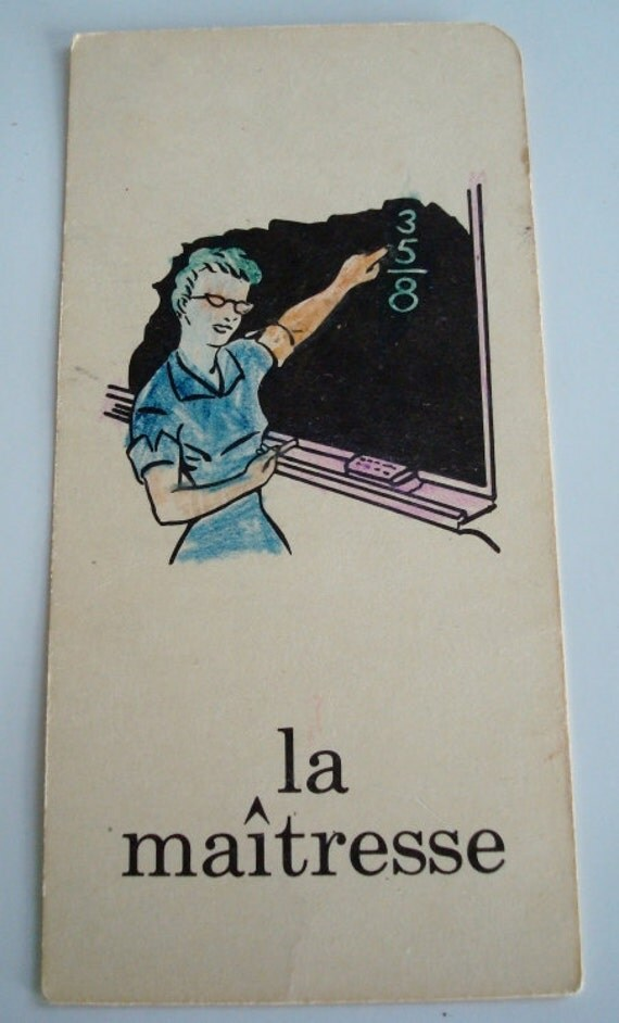 1960s French Flash Cards. Lightly Decorated