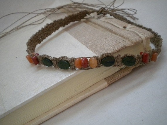 RESERVED Woven Leaf and Gemstone Adjustable Necklace Size M