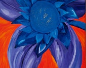 Original Blue/Purple Flower on Orange Background Art