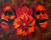 Angry Orange and Black Skull wih flowers
