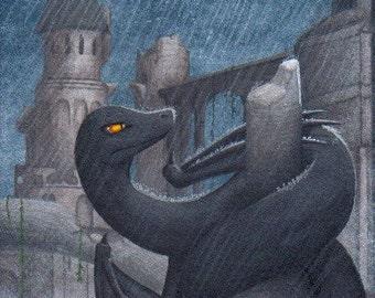 ACEO Fantasy Art Print- I Do Not Fly With Rain - Limited Edition Print - Fantasy Dragon Art