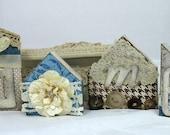 Handmade Shabby Chic decor Vintage Cottage embellished decorated miniature wood houses