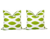Two Lime Green Ikat Pillows. Throw Pillows. Toss Pillows 18 x 18 Inch. Accent Pillows. Set of Two.