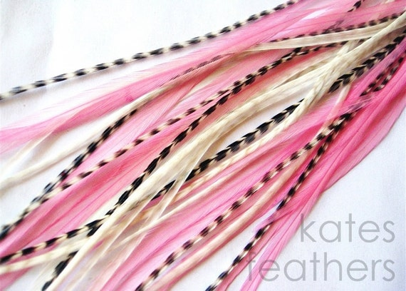 Feather Hair Extensions : PINK LEMONADE 3 Feathers and 2 Beads LONG 8-11 Inches