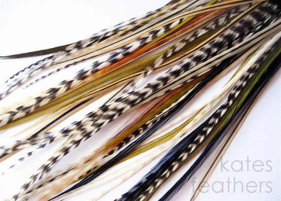 Feather Hair Extensions : NATURAL MIX 5 Feathers and 2 Beads LONG 6-11 Inches Bonded or Loose
