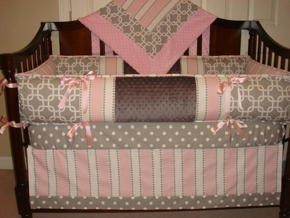 Custom crib Bedding set 4 PC Gray/ Pink Reserved for Justine Hunt